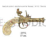 English pistol manufactured by Bunney, 18 th. Century b