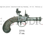 English pistol manufactured by Bunney, 18 th. Century p