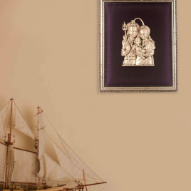 Silver Shiv, Parvati, and Ganesha Frame
