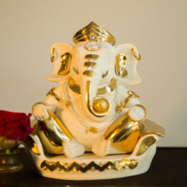 Sofa Ganesha White Gold Plated
