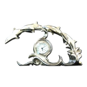 Silver 4 dolphins clock