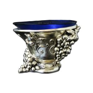 Silver blue crystal glass bowl